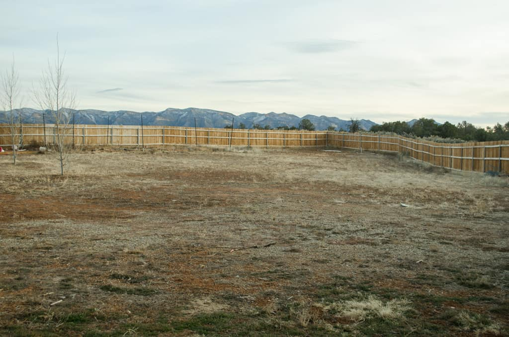 Empty backyard in winter with fence and mountains in the background.