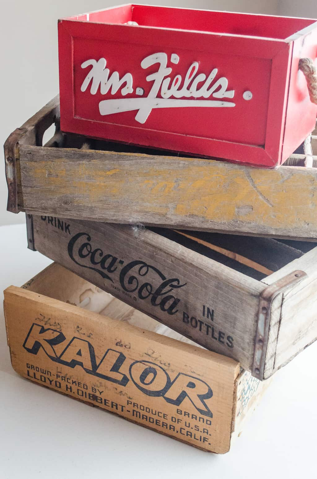 a stack of old crates