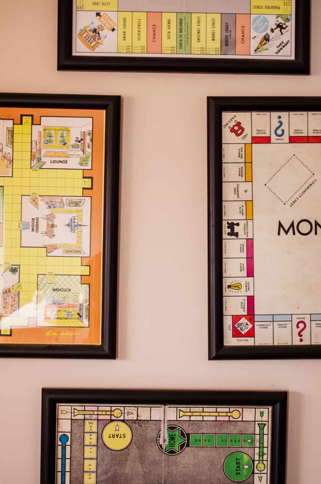 Close up of the game boards hung on the wall