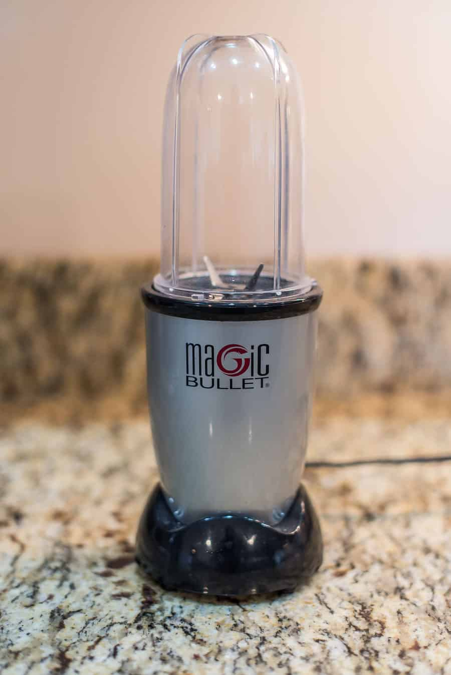 a magic bullet on a marble counter