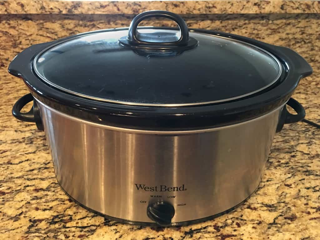a photo of a slow cooker on a kitchen counter