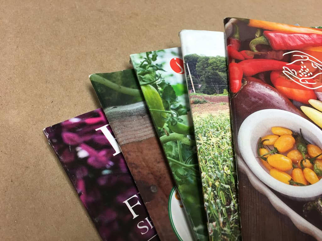 seed catalogs laid out on a brown background
