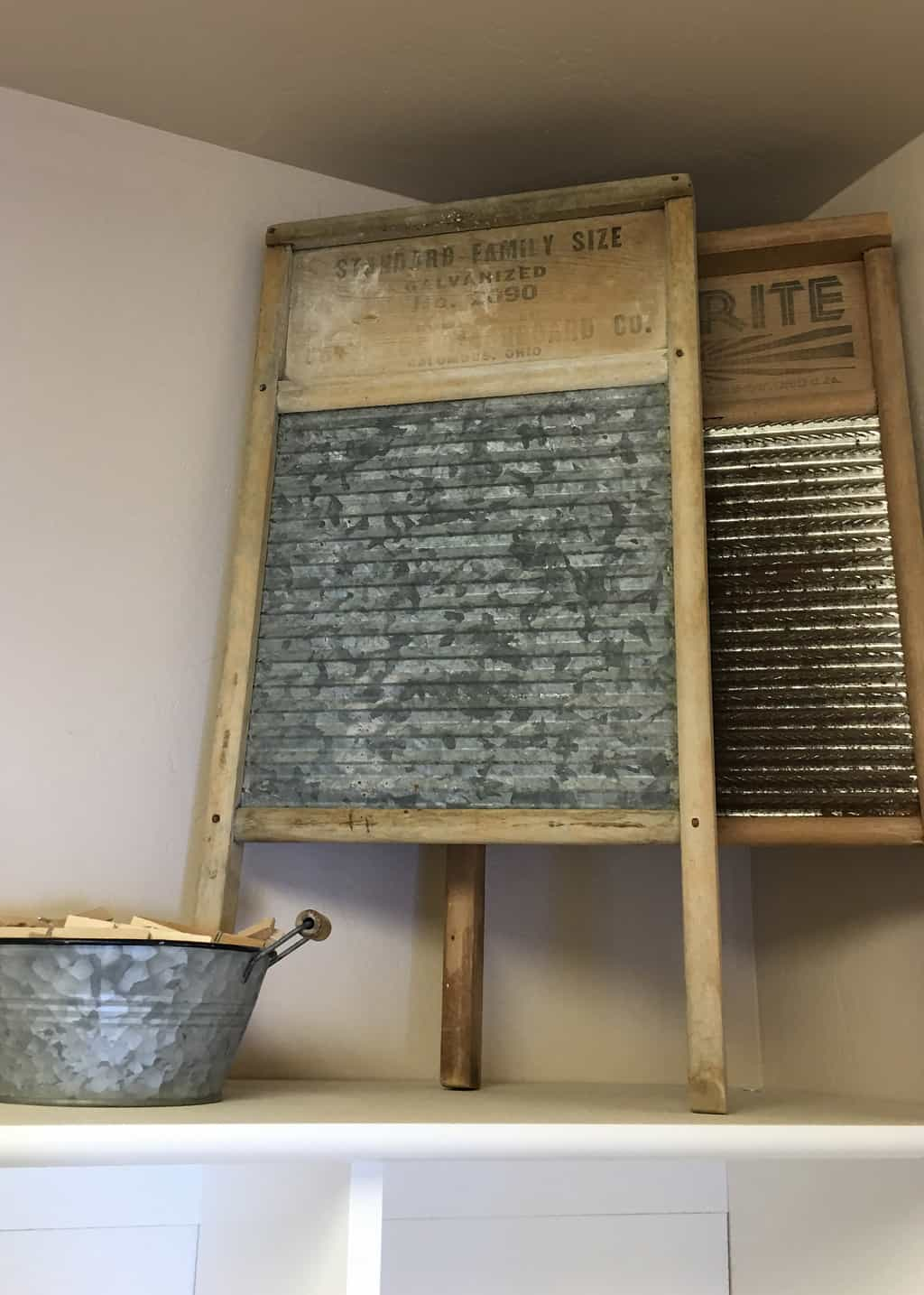 vintage washboards on a shelf