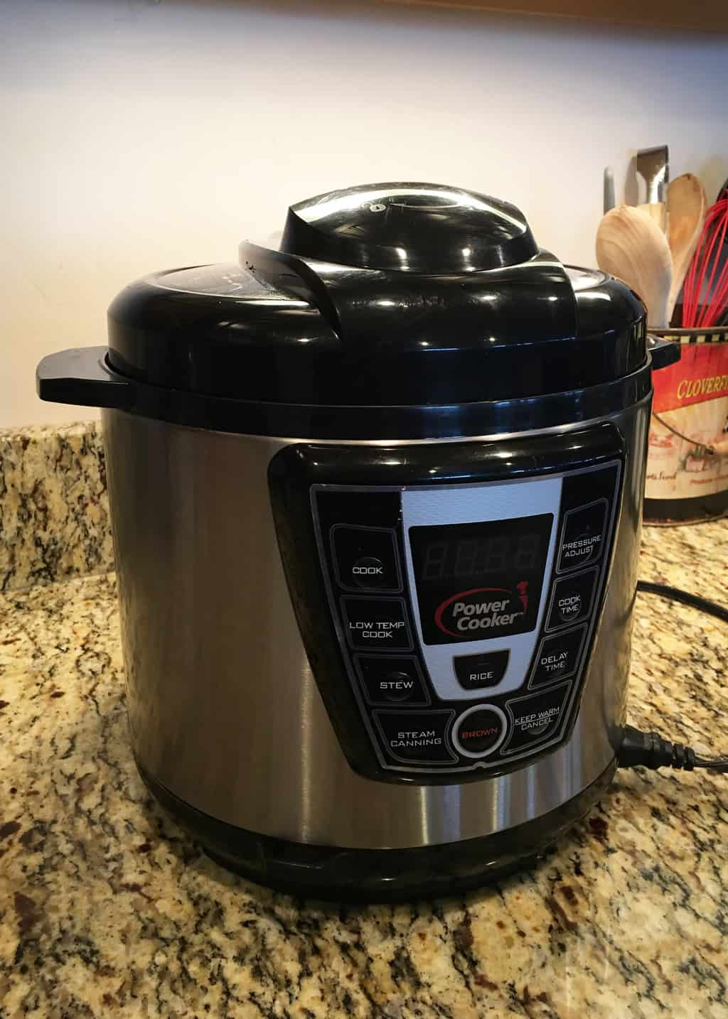 photo of a pressure cooker on a kitchen counter