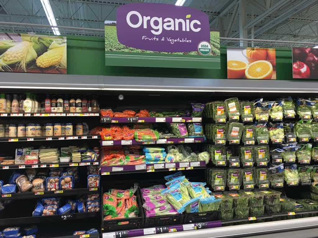 the organic section at walmart