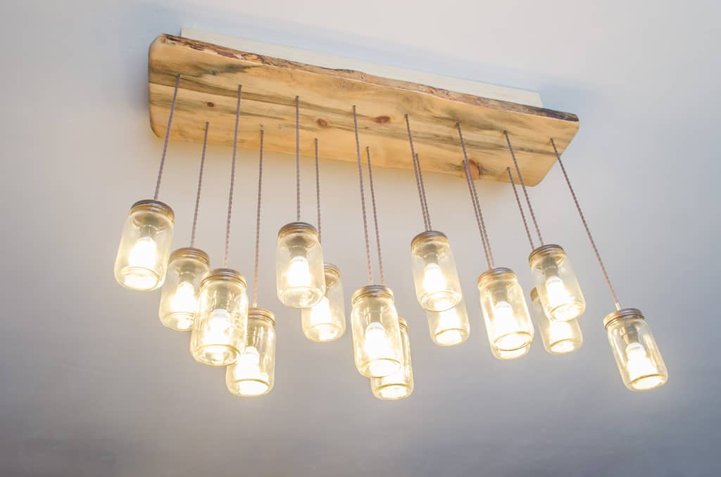 photo of a mason jar chandelier