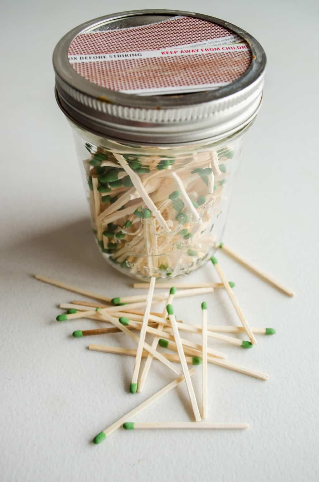 mason jar with matches inside
