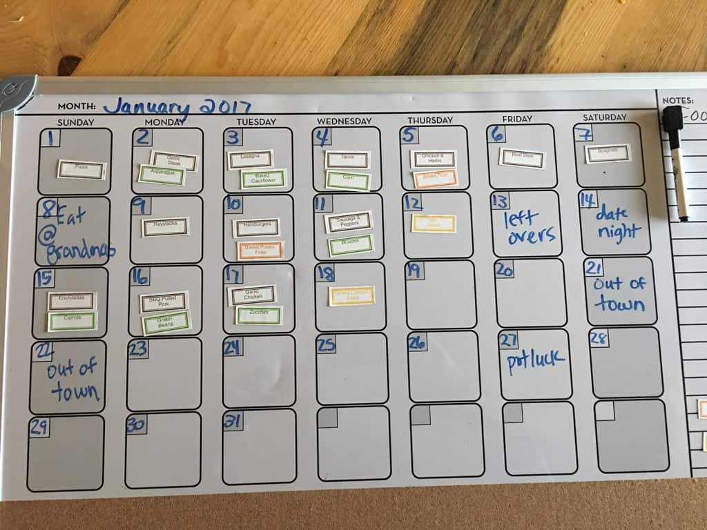 photo of meal planning white board calendar