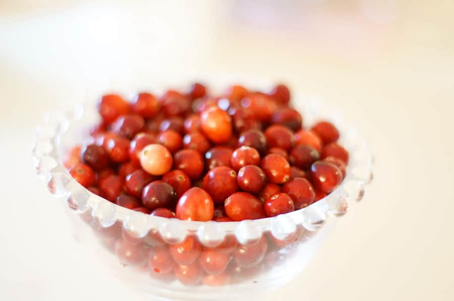 clear bowl of cranberries