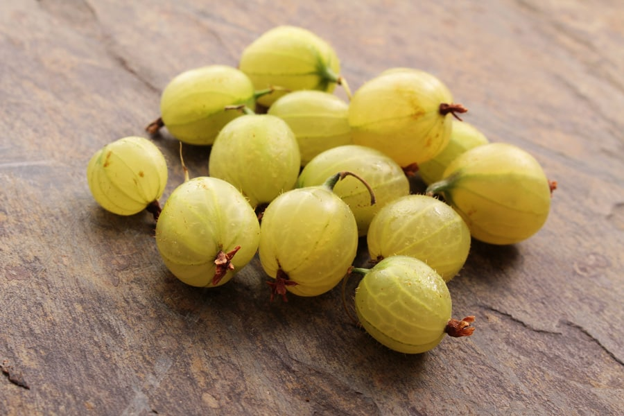 gooseberries on a wooden table