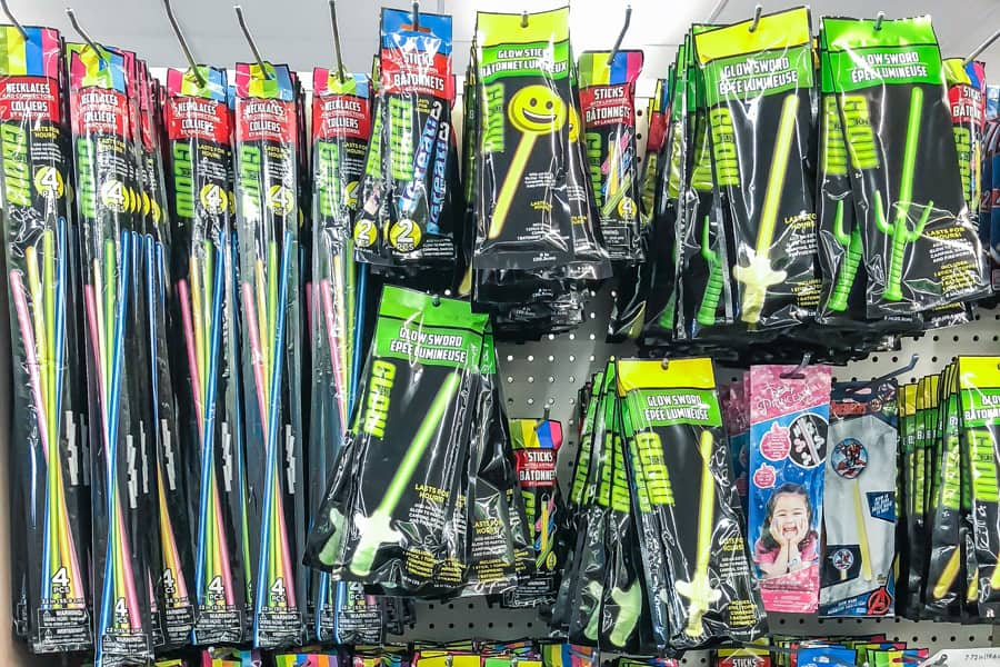 glow sticks at the dollar store