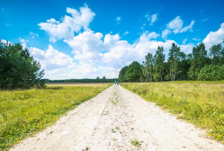 a beautiful summer day with a dirt road, green grass and blue cloudy sky