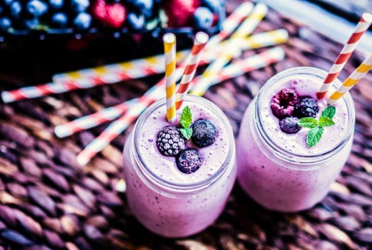 berry smoothie with straw