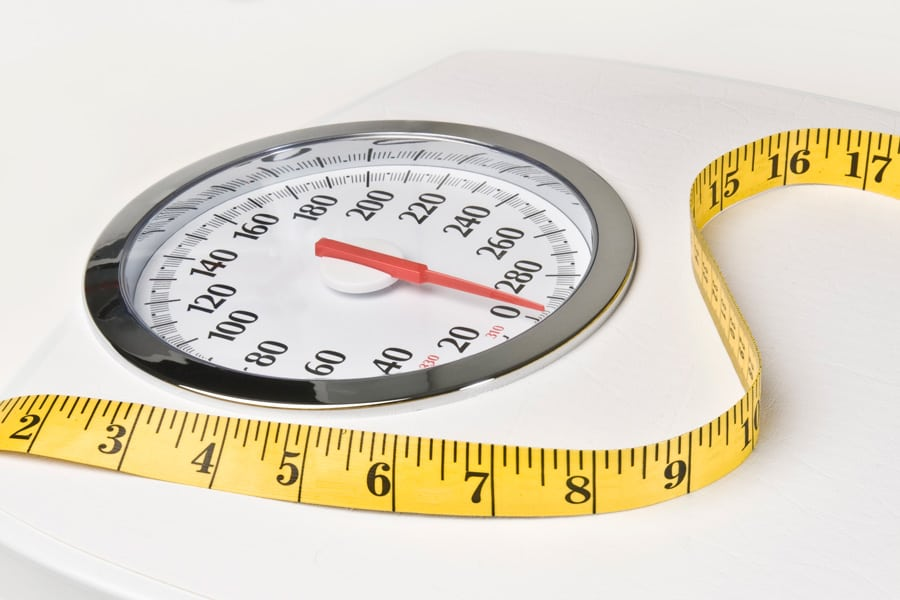 scale with measuring tape