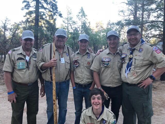 my husband with his boys, father and uncle at Boy Scout Camp