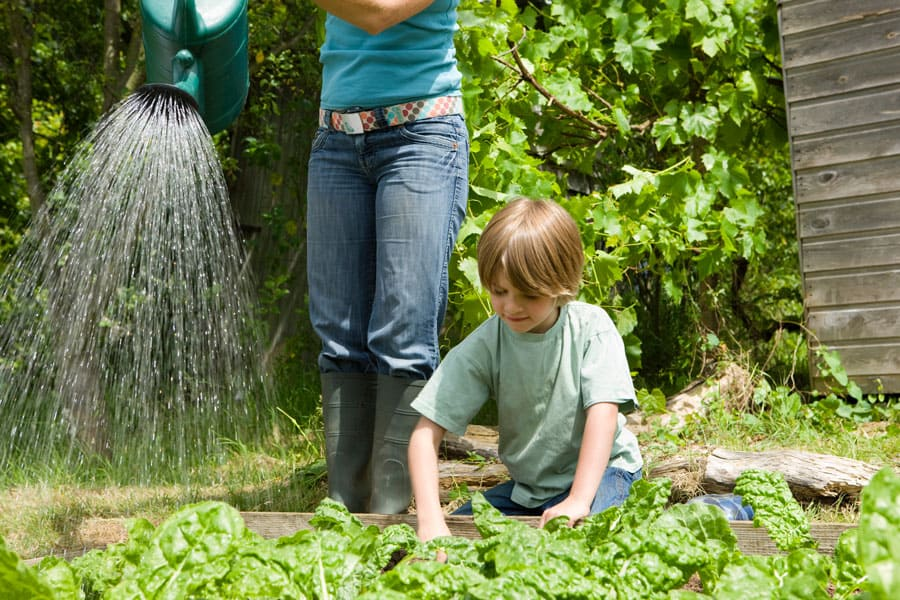 woman watering a garden with child