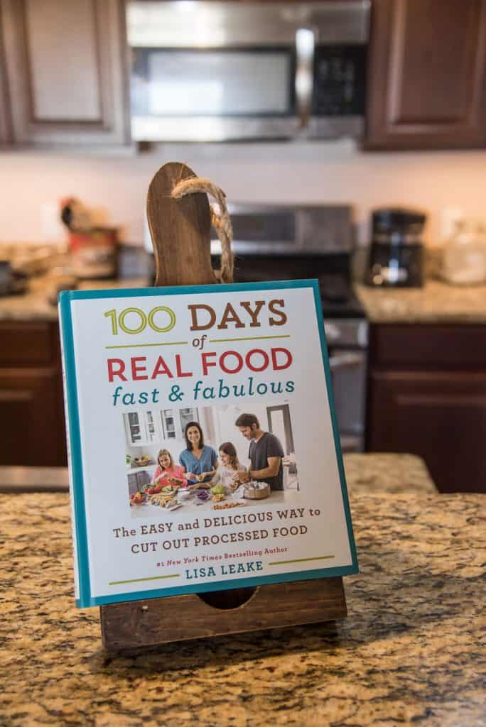 cookbook on kitchen counter