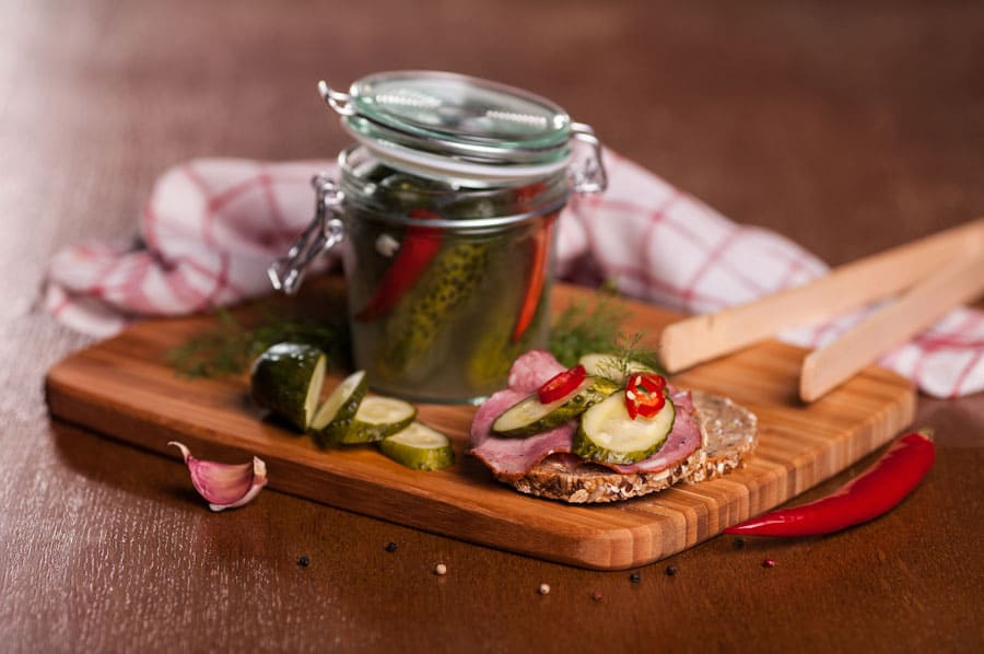 homemade pickles in a jar