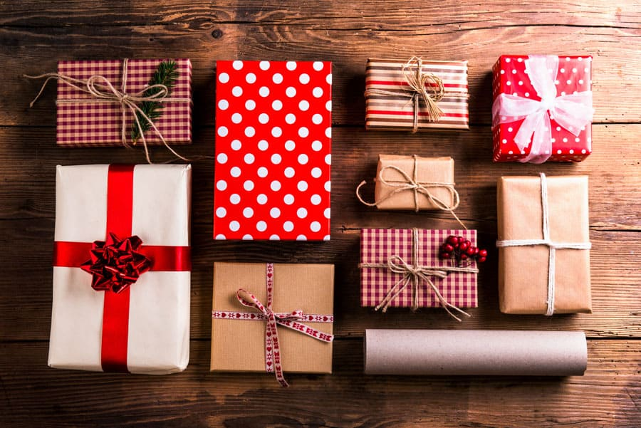 christmas presents on a wooden table