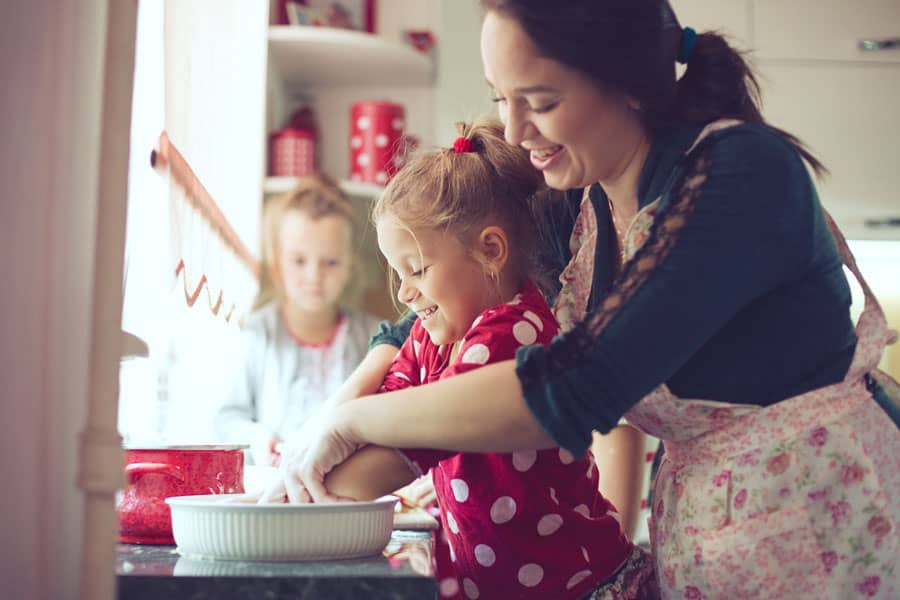 mother baking with children